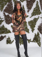 Horny babe Natasha has her military dress on and a pair of sexy leather boots