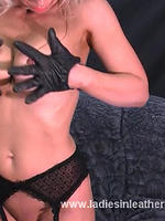 Preview Ladies in leather gloves - Hot blonde Milf Nicole puts on her leather gloves and then rubs her sexy body slowly