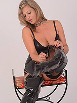 Hot Milf Louise enjoys teasing you as she unzips her tight leather dress and kinky leather thigh boots