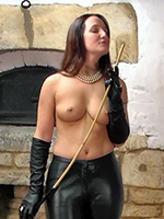 Preview Leatherfixation - Femdom Samantha is ready for the more troublesome members who may be planning to misbehave! Wearing the tightest black leather pants and opera length black leather butter soft gloves she holds a cane ready for you