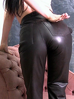 Preview Leatherfixation - Miss Catherine puts on her tight leather pants to show off her lovely ass